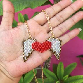 7578d82e97e8 Collar Corazón Alas Chaquira Bisutería Artesanal Moda Miyuki