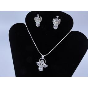 9bc1ae4a1ff2 Set Collar - Aretes Plata .925 Y Zirconia - Figura Angelitos