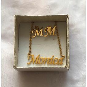 6ef32e679235 Collar Cadena Dorada Con Dije Nombre Monica Y Aretes M Mujer