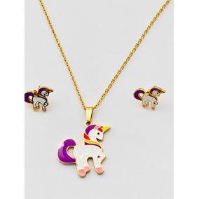 0ad9f1a06af0 Collar De Unicornio Y Aretes Estuche Y Envío Gratis.