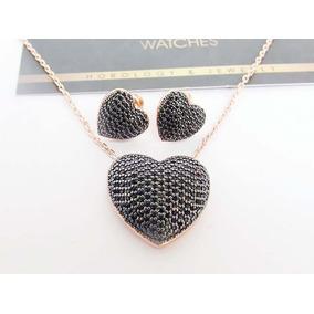 160e180f7bc5 Set Swarovsk Collar Y Aretes Corazón Oro Rosa Piedras Negra
