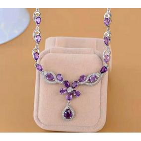 bd0936c965ec Collar Amatistas Naturales Plata Esterlina Con Oro 18k Mujer