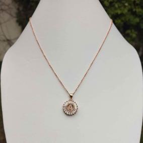 945a3361610f Collar Dije Inicial Zirconias Oro Rosa Rose Gold + Cajita