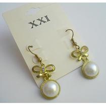 Elegantes Zarcillos Dorados Con Perlas Nuevo