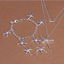 Collar, Aretes Y Pulsera, Plata 925, Diseño Estrellas De Mar