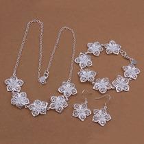 Collar, Pulsera Y Aretes, Plata 925, Diseño: Flores Tejidas