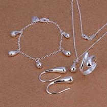 Collar, Aretes, Anillo Y Pulsera, Plata 925, Diseño: Gotas