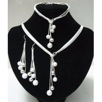 Collar, Pulsera Y Aretes De Plata 925