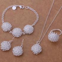Collar, Aretes, Anillo Y Pulsera, Plata 925, Diseño: Puntas