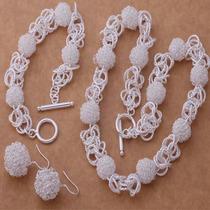 Collar, Pulsera Y Aretes Plata 925, Diseño: Esferas Tejidas