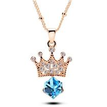 Collar Corona Swarovski Crystals Baño Oro 18k Estuche Stock