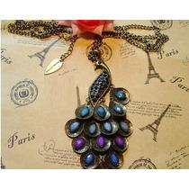 Pareja Enamorados Mujer Vintage Cadena+dije Collar Pavo Real