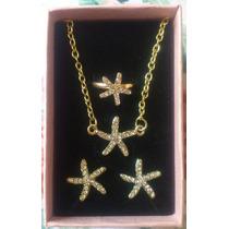 Set Collar + Aretes + Anillo Estrella De Mar Cristales Stock