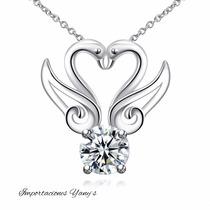 Collar Mujer Corazón Con Cristales Austriacos, Plata.