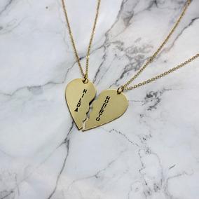 675307a772bc Collares Corazón Partido Regalo Para Parejas Chapa Oro 22k,