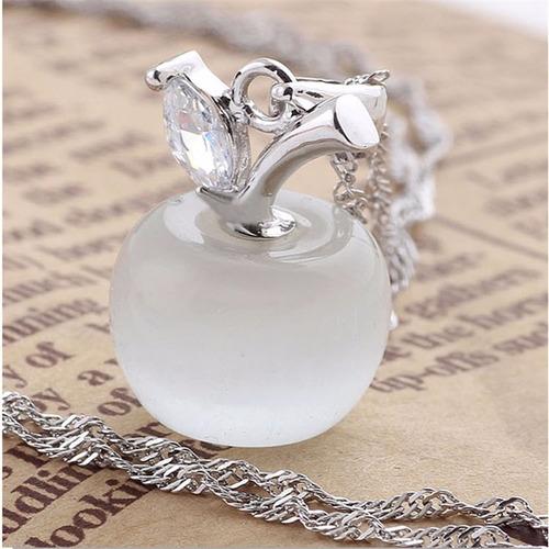 collares cuarzo opalo manzana cadena plata laminada +envio