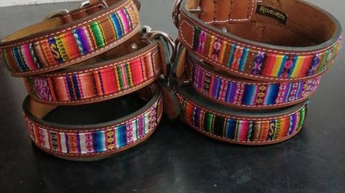 collares de cuero con diseño andino