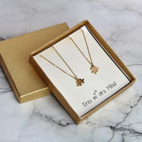 collares de rompecabezas regalo parejas baño de oro de 22k