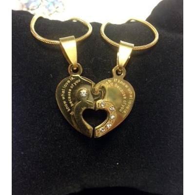 collares en acero dorado para parejas,casados,enamorado