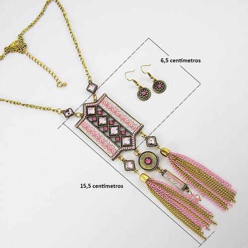 collares mujer medallon hindu cadena color oro bronce aretes