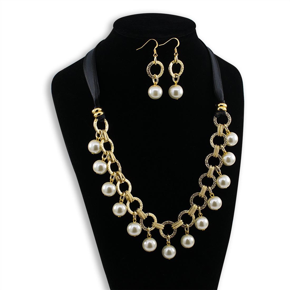 fb8f781dd9fd collares mujer perla cristal cadena color oro bisuteria fina. Cargando zoom.