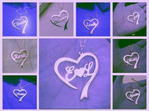 collares nombre dije plata corazon, iniciales personalizado