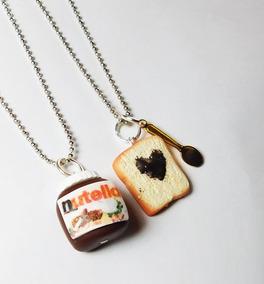 Collares Nutella Y Rebanada De Pan Con Cuchara Kawaii Pareja