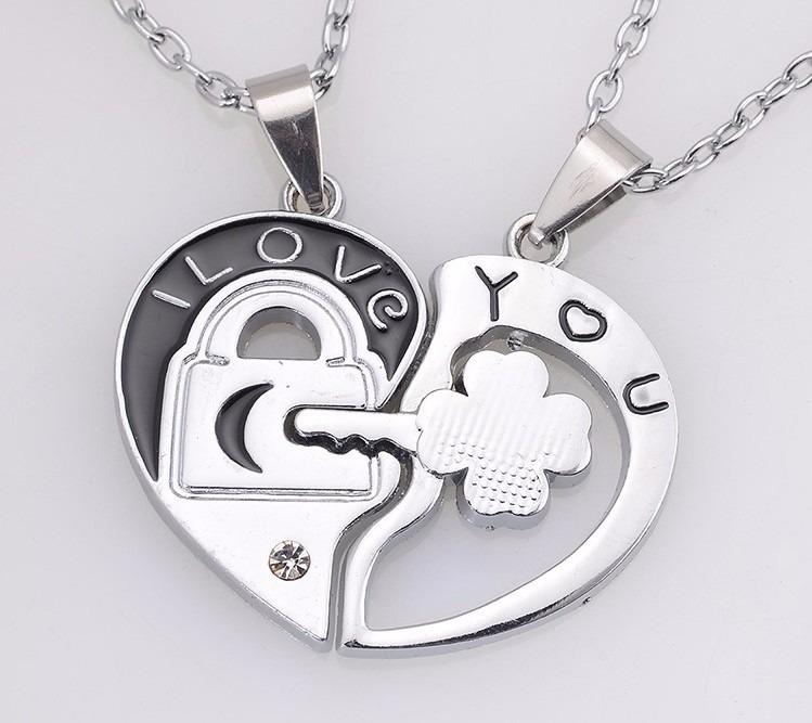 collares para novios corazon llave perejas amor original