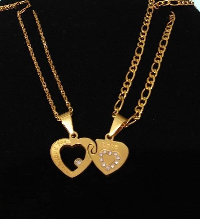 collares para pareja san valentin acero baño oro 18k