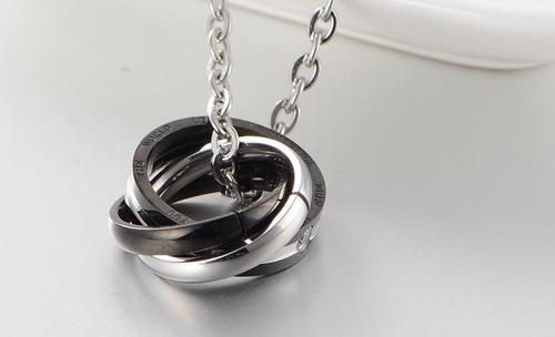 collares pareja 3 anillos argollas hombre mujer amor cadenas