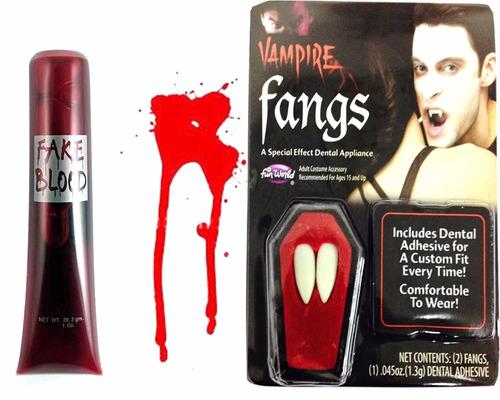 colmillos vampiro + sangre disfraz halloween cosplay juego
