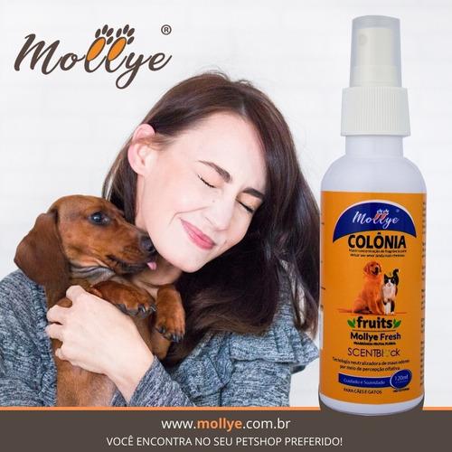 colônia para pets mollye fresh cão e gato 120ml c/ sentblock