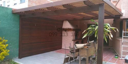 colocación de tejas, techos livianos, pérgolas y decks