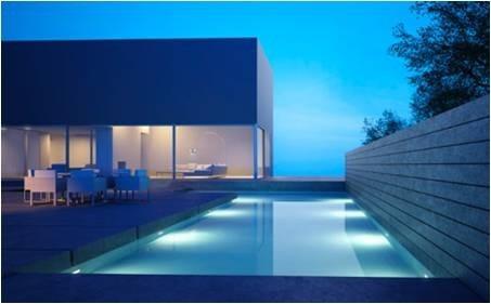colocacion luces para piscinas. led rgb artef. acero inox.