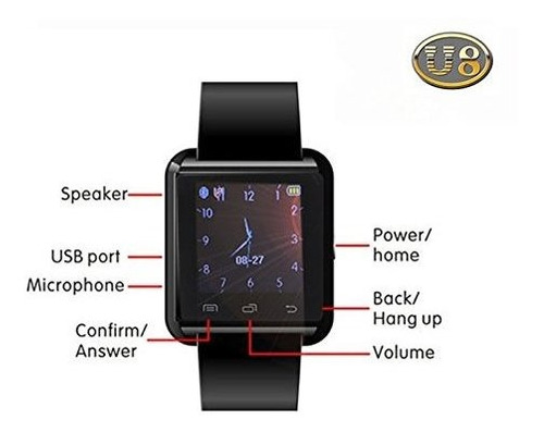 colofan u8 touch pantalla bluetooth smart watch con camara n