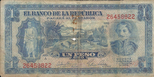colombia 1 peso oro 7 agosto 1953