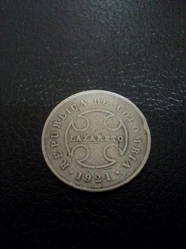 colombia 10  cents lazareto 1921 vg