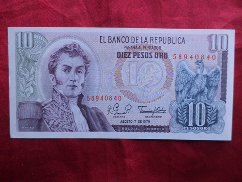 colombia 10 pesos 1979