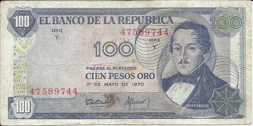 colombia 100 pesos 1 de mayo 1970