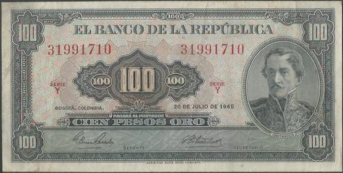 colombia, 100 pesos 20 jul 1965  bgw296