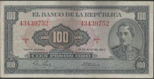 colombia, 100 pesos 20 jul 1967  bgw297