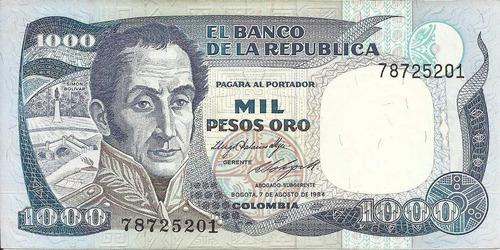 colombia  1000 pesos oro 7 agosto 1984