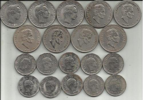colombia 19 monedas 50 centavos diferente fecha y diseño