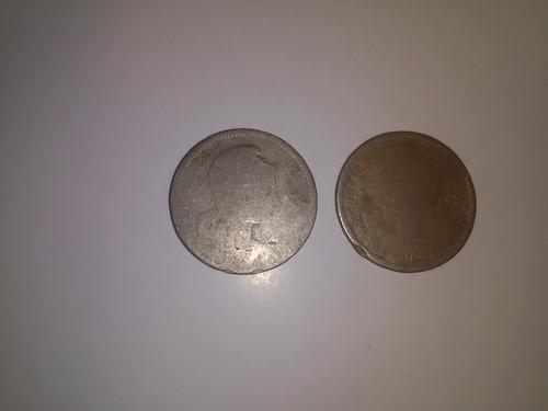 colombia 2 monedas de  5 pesos 1907 papel moneda