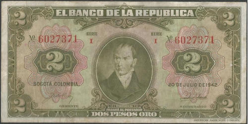 colombia 2 pesos 20 jul 1942 bgw084
