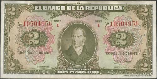 colombia 2 pesos 20 jul 1943 8 digitos bgw086