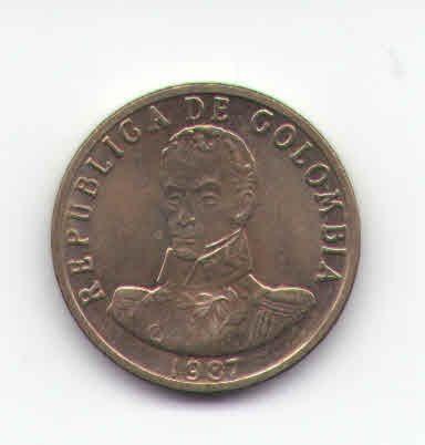 colombia 2 pesos oro 1987 bolivar * unc *  bronce