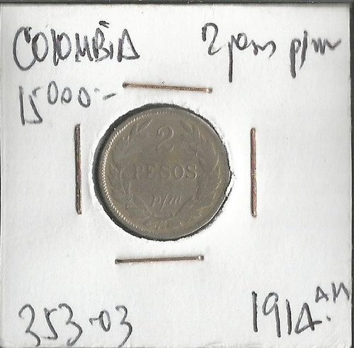 colombia 2 pesos p/m 1914am jer353.03
