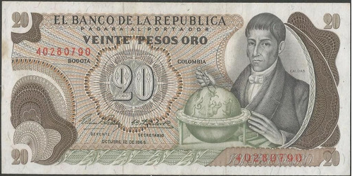 colombia, 20 pesos 12 oct 1966 bgw223