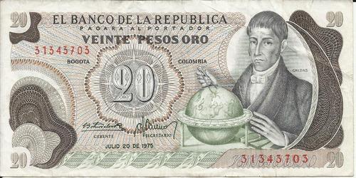 colombia 20 pesos oro 20 julio 1975